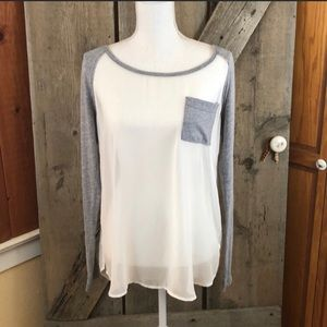 Free People Sheer White and Gray Jersey Top XS